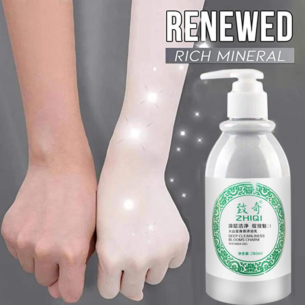 Whitening Volcanic Mud Shower Gel Body Wash Deep Clean Skin Moisturizing Exfoliating Body Care Bathing Cream 280ml Pure White And Translucent