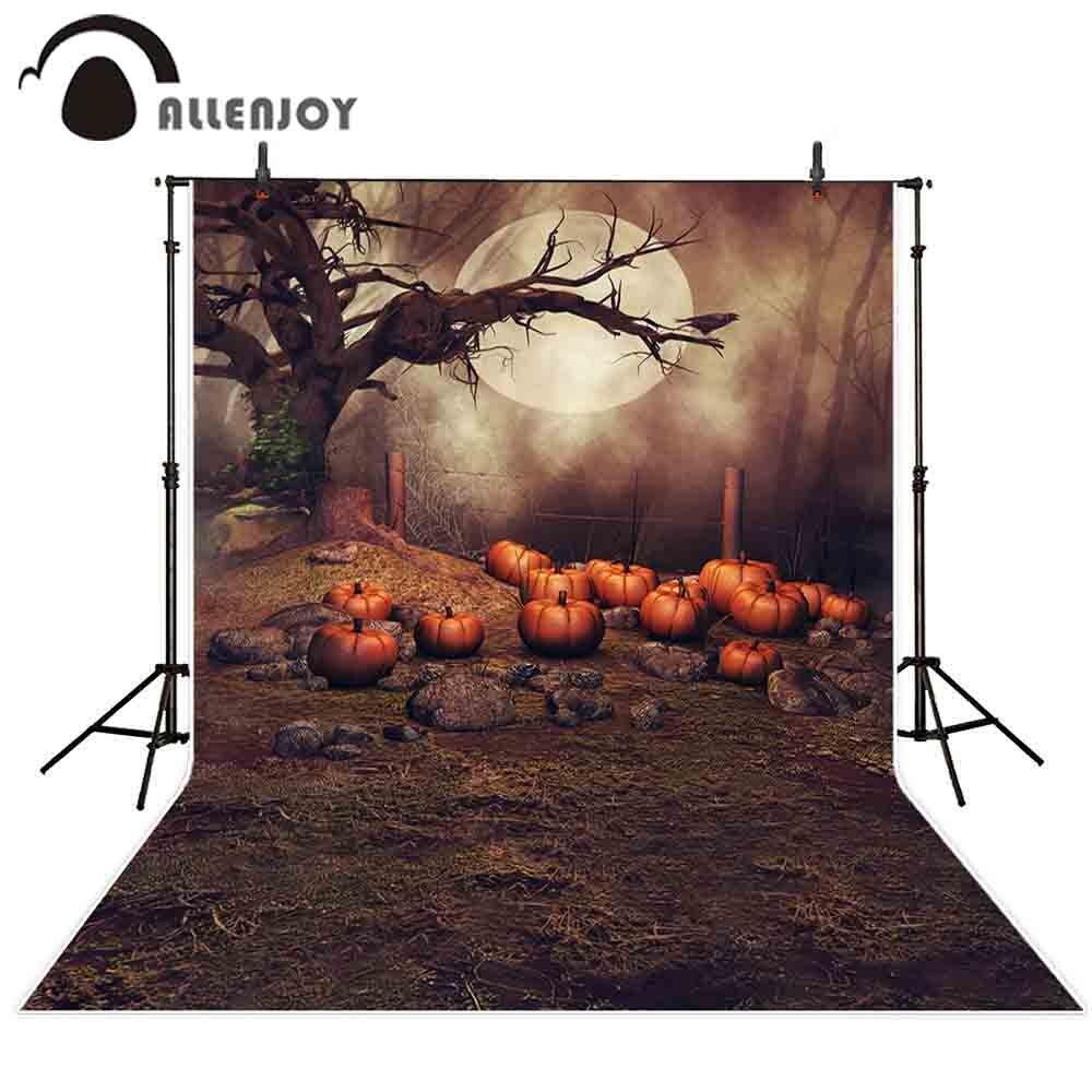 Allenjoy fotofone cenário abóbora de Halloween lua noite árvore cerca terreno baldio crianças fundo do estúdio da fotografia photobooth