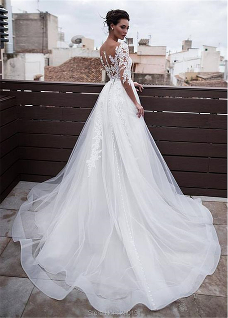 Marvelous Jewel Neckline 2 In 1 Wedding Dresses With Detachable Skirt Lace Appliques 3/4 Sleeves Two Pieces Bridal Gowns 2021 5