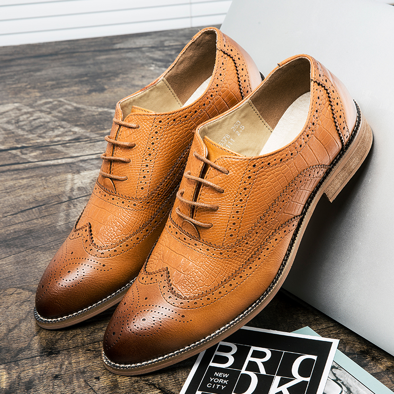 Misalwa British Style Brogue Shoes Men Business Leather Formal Wedding Party For Snake Print Korean Casual
