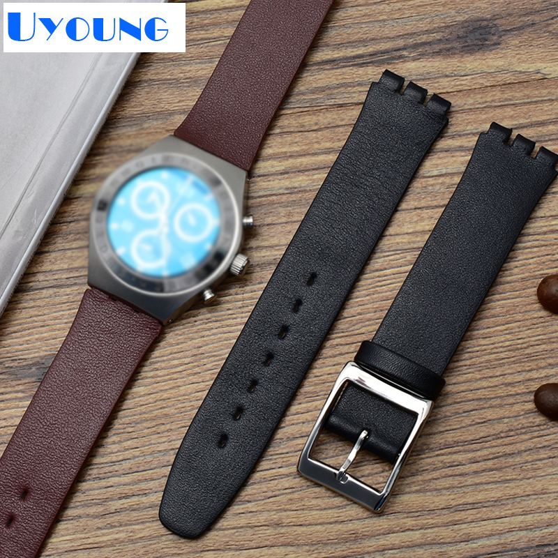 Thin Genuine Leather Watch Band 17mm For Swatch SYXS116 Wath Strap Simple Leather Bracelet Wristwatches Band