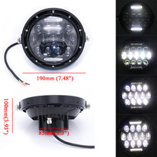 "7 Inch Motorcycle LED Headlight DC 12V Universal 7"" Motorbike Scooter Retro Black Headlamp Motor Moto led Head Lamp Front Light(China)"