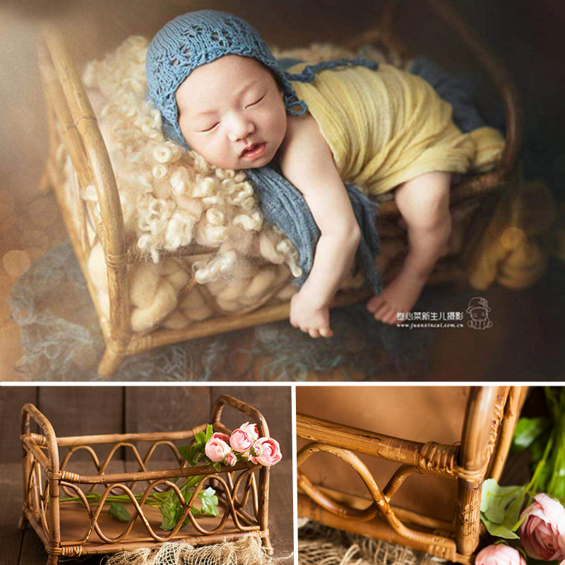 Fotografie Baby Props Boy Handmade Vintage Rattan Frame Baby Photo Shoot Newborn Bed Chair Props Newborn Photography Accessories