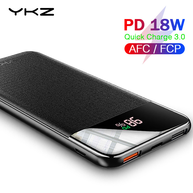 Ykz Qc 3.0 Power Bank 10000 Mah Led Externe Lader Batterij Poverbank Pd Fast Quick Lading 12V Powerbank Voor iphone Xiao Mi Mi