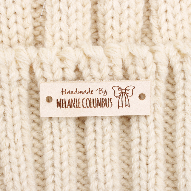 Personalized Sewing Labels for handmade items Faux Leather knitting tag PU Leather Labels for Knitted Items Custom Clothing Sew On Labels