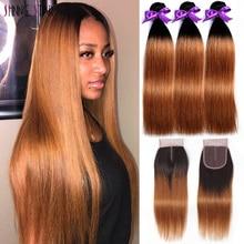 Ombre mel loira pacotes com fechamento peruano cabelo humano em linha reta 3 pacotes com fechamento marrom 1b 30 brilhante estrela remy cabelo