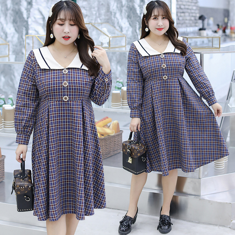 [Xuan Chen] Large Size Dress Wholesale 200 Slimming 2019 Autumn New Products French Non-mainstream Plaid Dress 6917