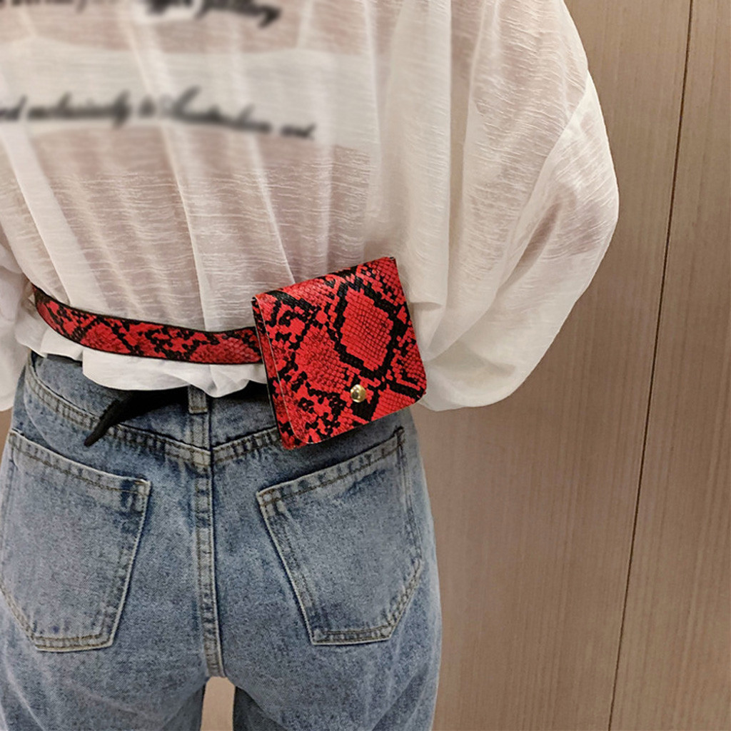 2020 New Ladies Fashion Retro Snake Print Mini Waist Bag PU Shoulder Bag Handbag New Ladies Waist Bag Leather Belt Wallet