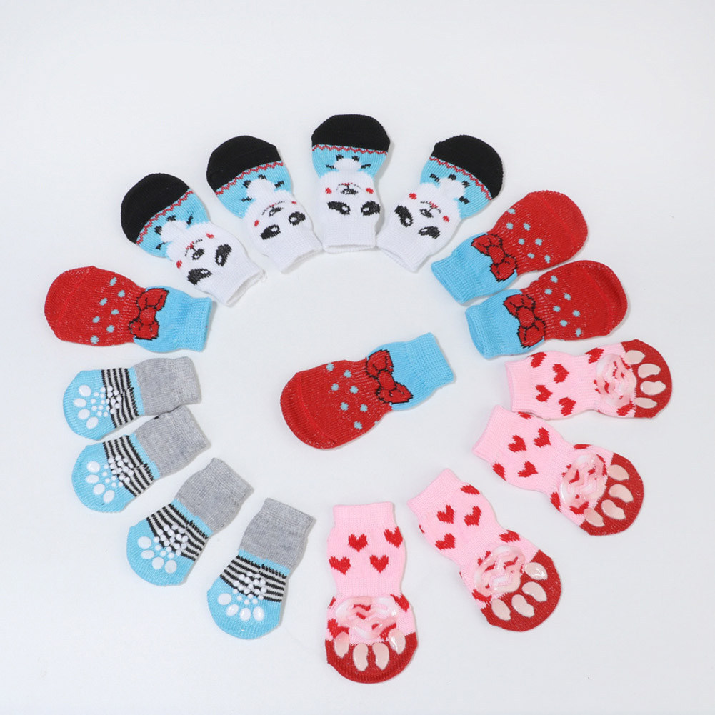 4pcs/Set Cute Puppy Dog Knit Socks For Small Dogs Cotton Anti-Slip Cat Autumn Winter Keep Warm Indoor Wear Slip On Paw Protector
