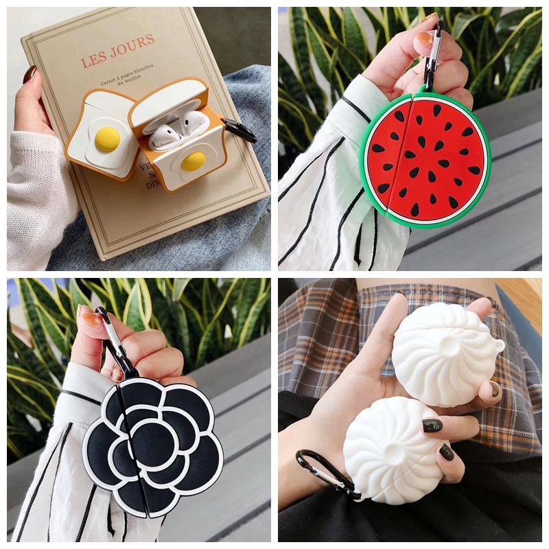 For AirPods Case Cute Funny Toast Bun Watermelon Flower Earphone Case For Apple Airpods 2 Soft Protect Cover With Carabiner Hook