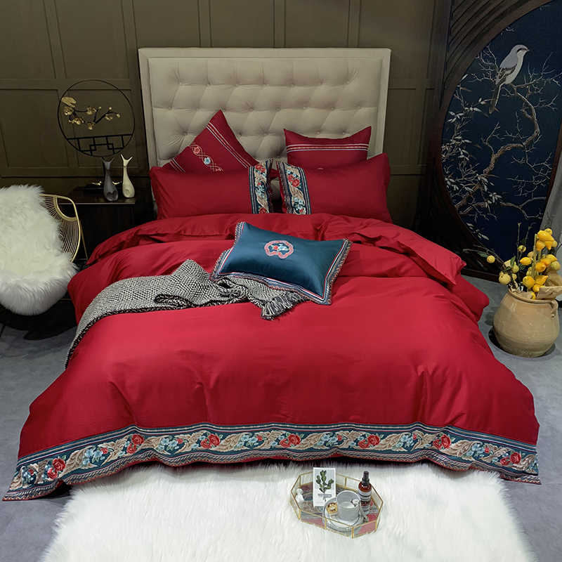 4/7 Pieces Luxury Classic  600TC Egyptian Cotton Embroidery Duvet Cover Set  Queen King size Bedding Set for ALL season Red Yell