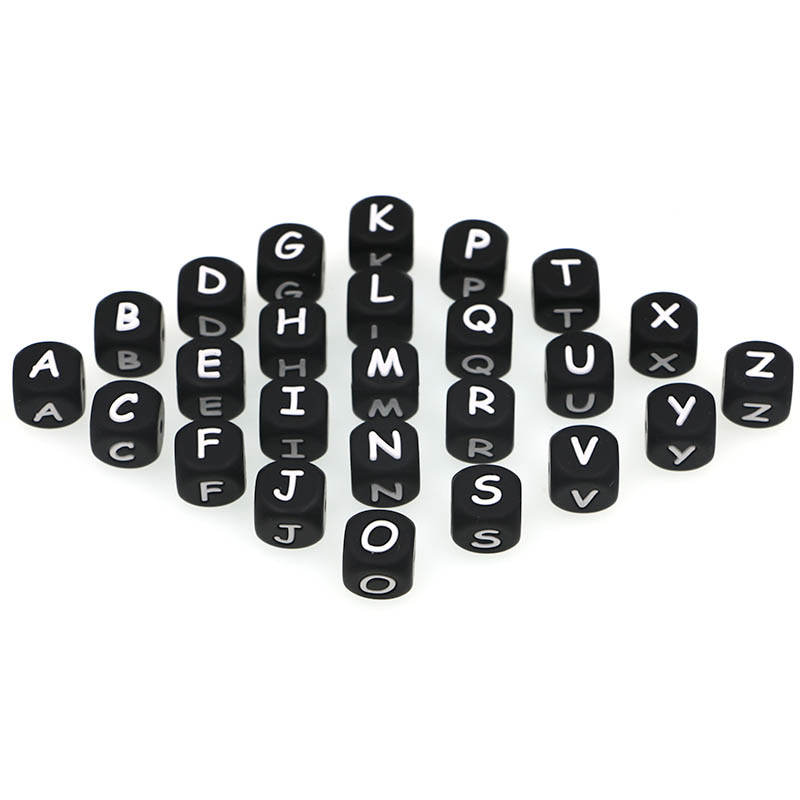 Letter Beads Silicone Alphabet Pacifier-Chain Bpa-Free Black 500/1000pcs