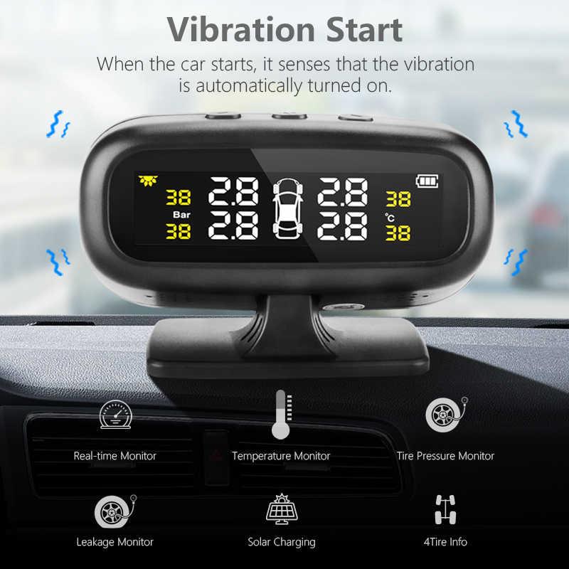 نظام مراقبة نظام إنذار ضغط الإطارات للسيارات TPMS بالطاقة الشمسية عرض ذكي لتحذير درجة الحرارة والوقود مع 4 أجهزة استشعار tpms
