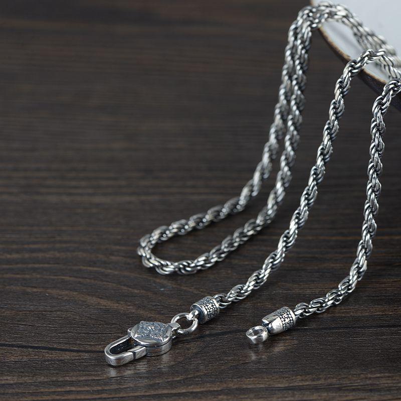 S925 argent Sterling tibétain Dorje symbole pendentif colliers Thai argent bouddhiste Vajra symbole collier Wanzi symbole bonne chance