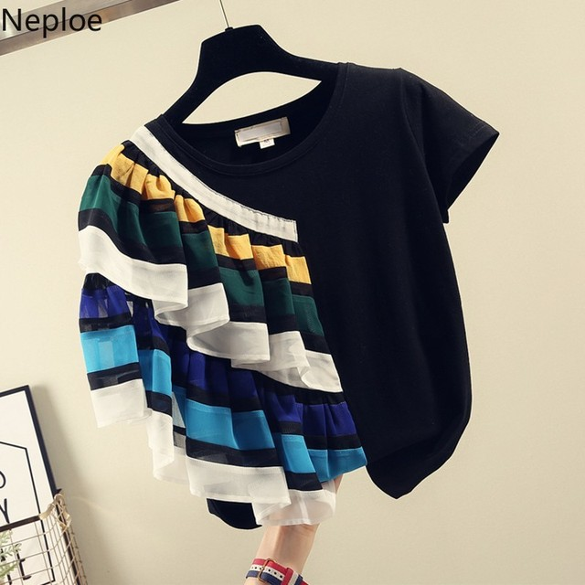 Neploe Ruffles Patchwork Summer 2020 Women Top New Fashion O Neck Half Sleeve Tees Korean Loose T Shirts 43388T-Shirts