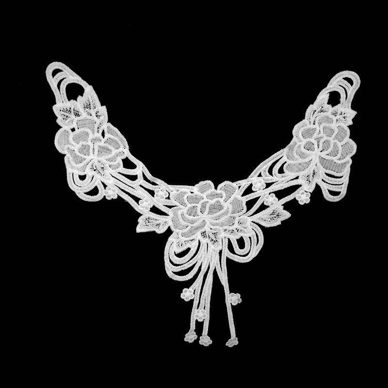 3D White Cotton Embroidery DIY Flower Lace Collar Fabric Sewing Applique Ribbon Trim Neckline Cloth Wedding Decor