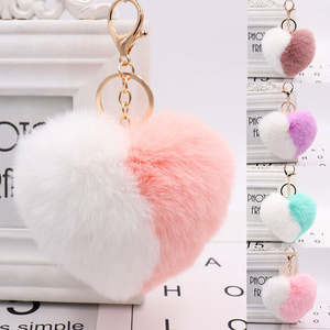 Sweet Faux Rex Rabbit Fur Heart Keychains Soft Assorted Colors Portable Fluffy Key Ring Solid Fluffy Durable Bag Pendant Gifts