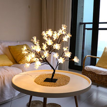 Fashion 48 LEDs Indoor Lighting Table Lamp Flower Tree Night Light Warm White Lighting Home Party Decoration New Year(China)