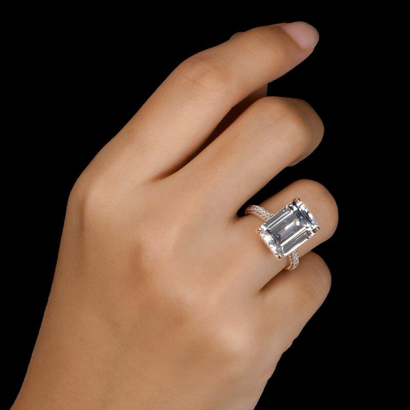 COLORFISH luxe 6 carats émeraude coupe AAAAA cubique zircone bague de fiançailles 925 en argent Sterling anneaux pour femmes bijoux de mariage - 6