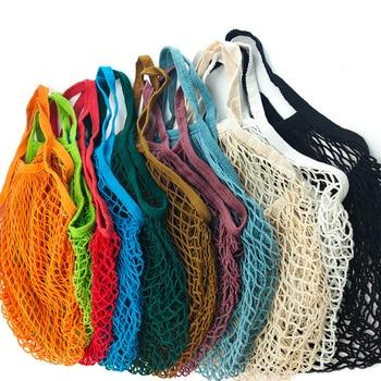 Sacs d'épicerie réutilisables portables sac de légumes de fruits chaîne de maille de coton lavable sac à main organisateur organique sac à main fourre-tout Net à poignée courte