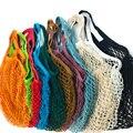 Tragbare Wiederverwendbare Taschen Obst Gemüse Tasche Waschbar Baumwolle Mesh String Organische Organizer Handtasche Kurzen Griff Net Tote
