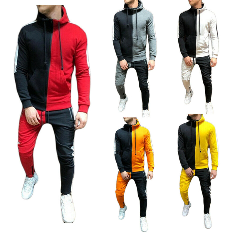 2019 New Two Pieces Set Fashion Patchwork Hooded Sweatshirts Sportswear Men Tracksuit Autumn Brand Clothes Hoodies+Pants Men Set