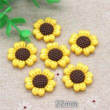 Craft-Decoration Flatback Cabochon Sunflower Kawaii Resin 20pcs 22mm Jewelry-Phone DIY