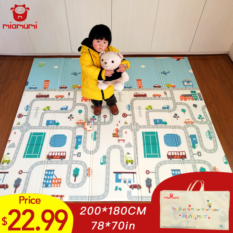 Miamumi Portable Foldable Baby Climbing Play Mat Puzzle Children's Mat Thickened Baby Room Crawling Pad Game Blanket Baby Carpet