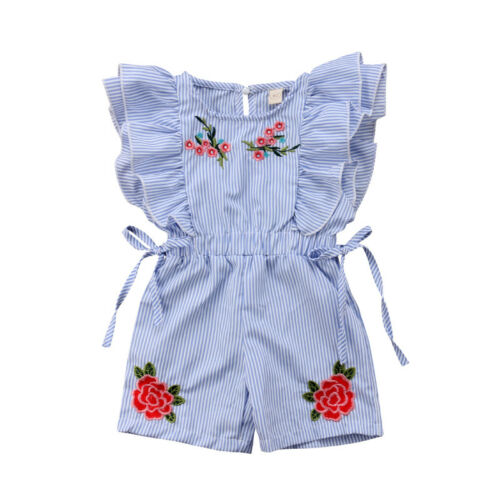 Cute Summer Toddler Baby Girl Romper Short Petal Sleeve Elastic Waist Floral Print Striped Blue Lace UP Jumpsuits