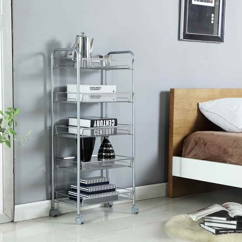 Carrito de comida de 4/5 capas cesta de almacenamiento de cocina estante de Metal ruedas deslizantes de baño estante de espacio organizador de ahorro