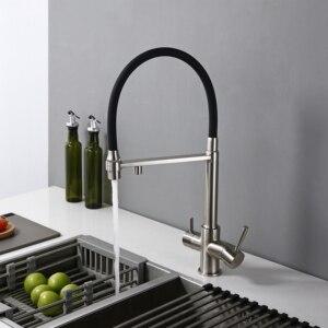 Image 4 - Umkehrosmose Tri Flow 3 in 1 Wasserhahn 3 Weg Küche Wasserhahn Wasserhahn in Edelstahl Farbe