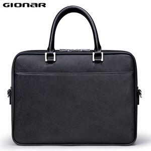 Мужской короткий чехол GIONAR, Тонкий деловой чехол из натуральной кожи для ноутбука 15 дюймов, черный, коричневый, серый, синий