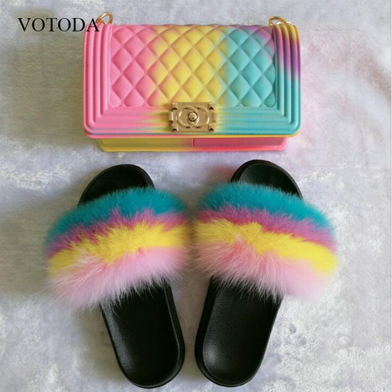 Women Fur Slides 100% Real Fox Fur Slippers Rainbow Jelly Bags Slides Indoor Fluffy Cute Fur Flip Flops Travel Furry Shoes Set