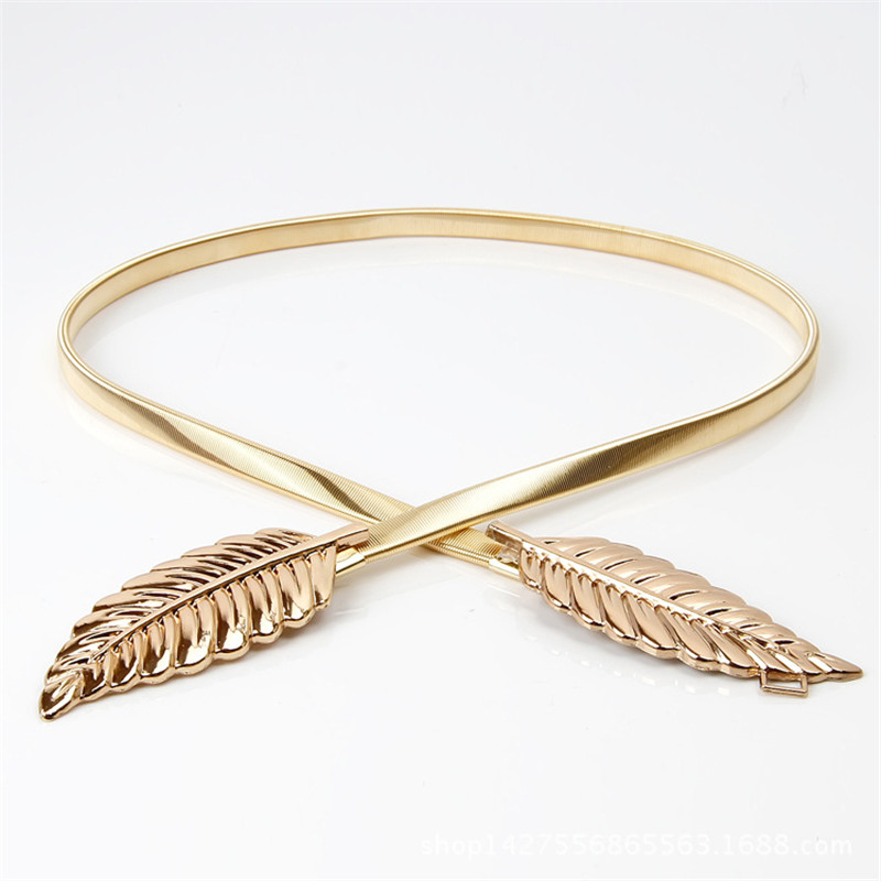 New Fashionable 2020 Women Metal Leaves Elastic Waist Dress Belt Strap Waistband Promotion Sale BL02-A 4