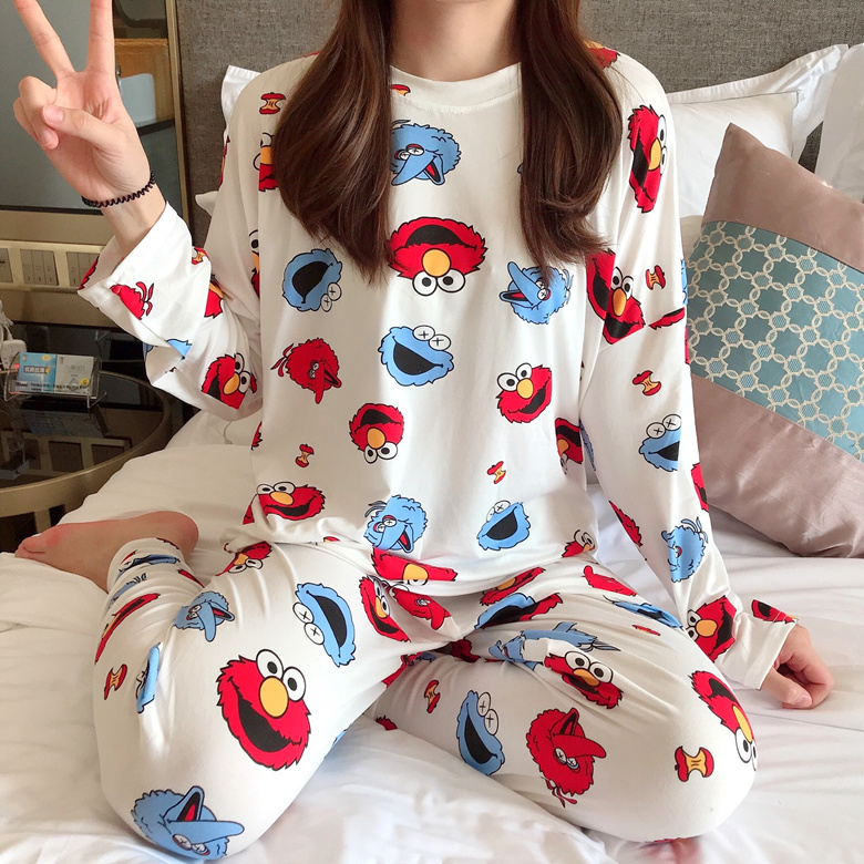 2020 Spring Summer New Fashion Pajamas With Cartoon For Women Long-sleeve Trousers Premium Pajama Sets For Woman