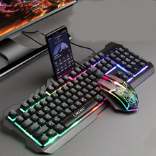 цена на Gaming keyboard Mouse Combos LED Backlit USB Wired Mechanical Keyboard Mouse Set with Phone Holder for PC Computer Gamer