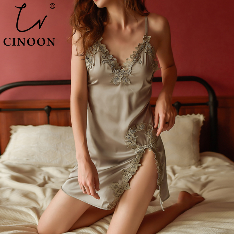 CINOON Sexy Ladies Nightdress Lace Satin Sleepwear Summer Sleeveless Elegant Nightwear Sling V-neck Pajama New Floral Homewear