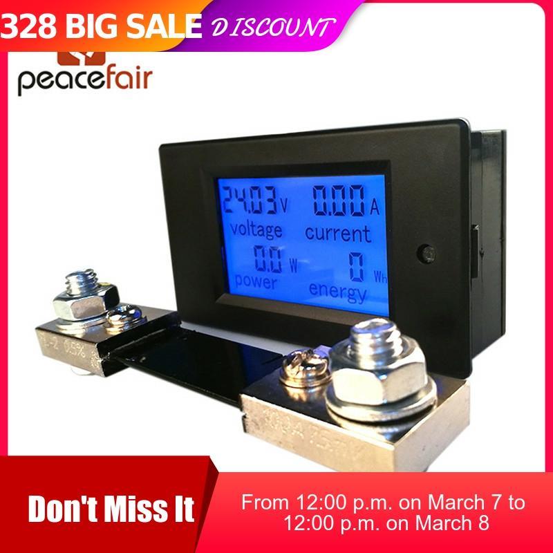 Peacefair DC Digital Multifunction Voltmeter Ammeter 6.5-100V 100A 4 IN1 Car Voltage Tester Amp Watt Kwh Meter With 100A Shunt