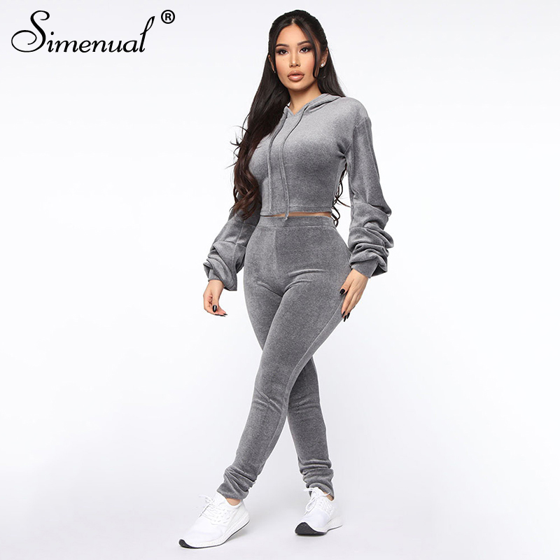 Simenual Fashion Casual Velvet Women Matching Sets Long Sleeve Solid Basic Slim Two Piece Oufits Sporty Hooded Top And Pants Set