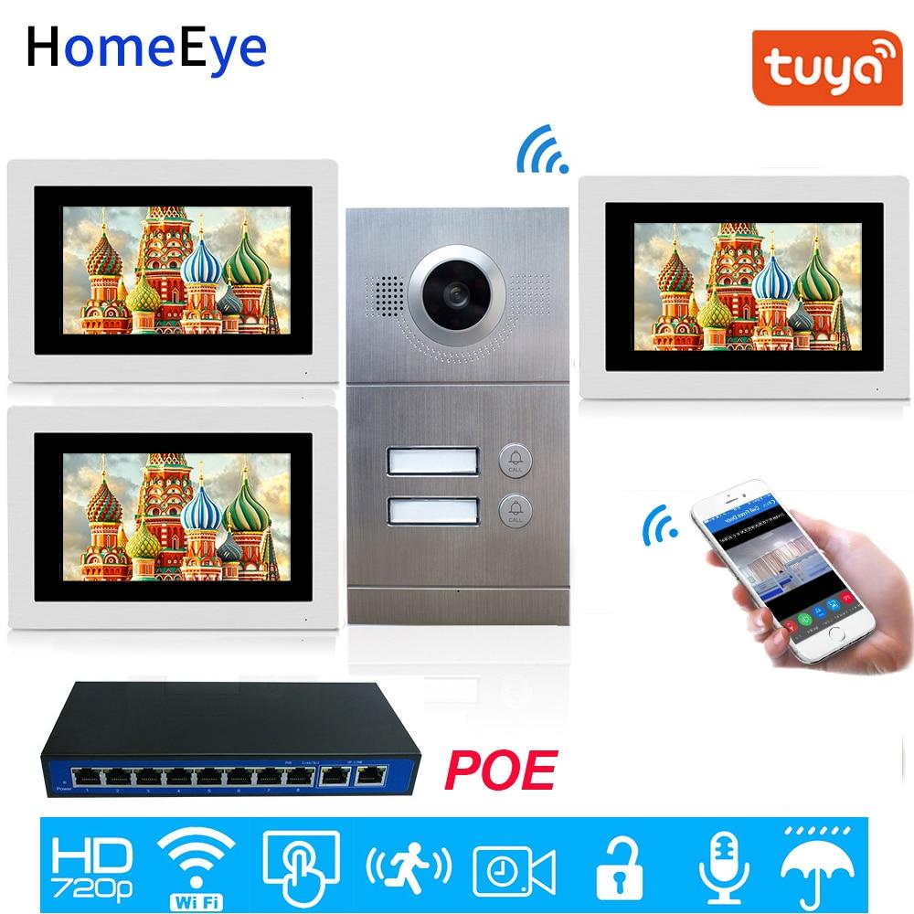 Free Tuya Smart APP Remote Unlock 720P HD WiFi IP Video Door Phone Video Intercom 2-Apartments Door Access Control System POE