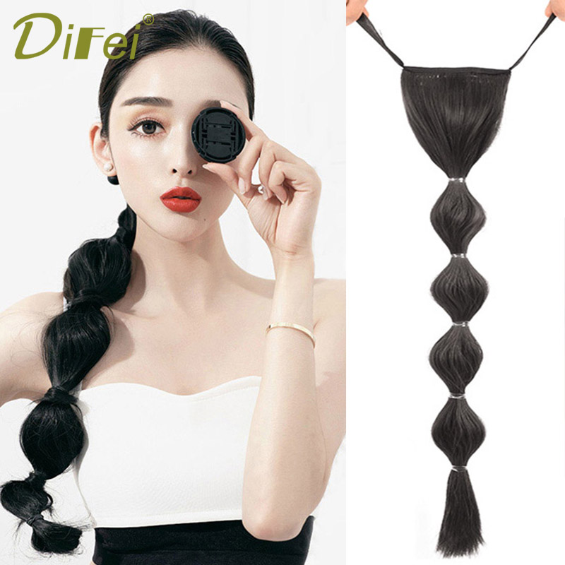 DIFEI 58cm Synthetic Pony Tail Extensions Long Straight Clip In Tail False Hair Ponytail Hairpiece With Rope Bubble Pony Tail