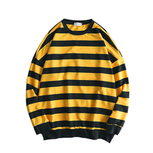 цена на Hot Men Tshirt Casual Cotton O-neck Full T Shirt 2019 New Arrival Striped Sweater T-shirt With Long Sleeves Loose Teenagers