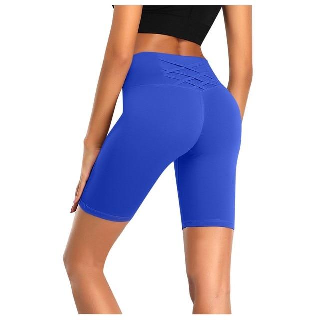 Cross bandage design Yoga Women's High Waist Yoga Short Abdomen Control Training Running Yoga Shorts Capri Femmes Sport Legging 1