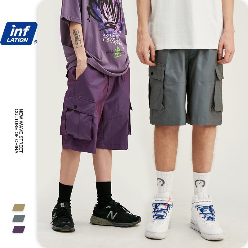 INFLATION Mens Streetwear Shorter Shorts With Elastic Waist Men Summer Shorts Hip Hop Men Compression Shorts With Pocket 3086S20