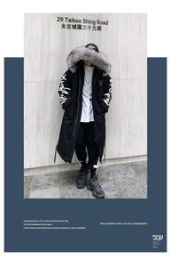 Image 5 - Winter hip hop fashion long fur collar coat 2018 cotton jacket Hoodies clothing Street wear outerwear & coats warm thick