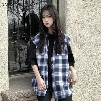 Vests Women BF Style Classic Black Plaid Spring Newest Fashion Leisure Teens Sleeveless Outwear College All-match Ladies Jacket