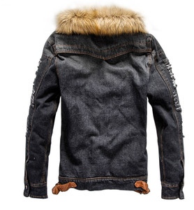 Image 3 - 2019 hot men Jacket warm denim Jacket Fur Collar Retro Jeans Jacket and Coat for autumn winter
