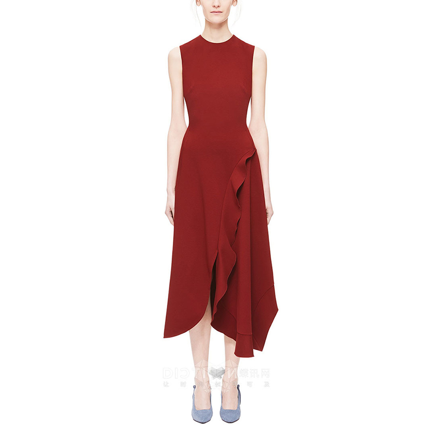 2019 nouveautés femmes robes longues tenues défilé de mode col rond célébrité piste sans manches asymétrique bordeaux robe mi-longue