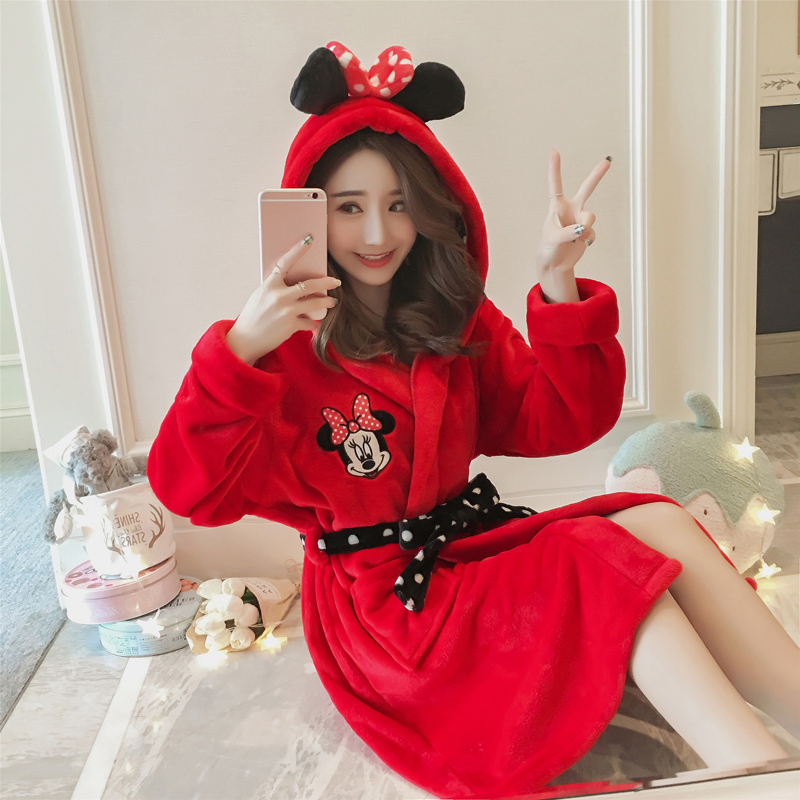 Minnie Bathrobe Winter Women Robe Flannel Mickey Pyjamas Autumn And Warm Coral Bath Velvet Suit Badjas Female Sleepwear Robes