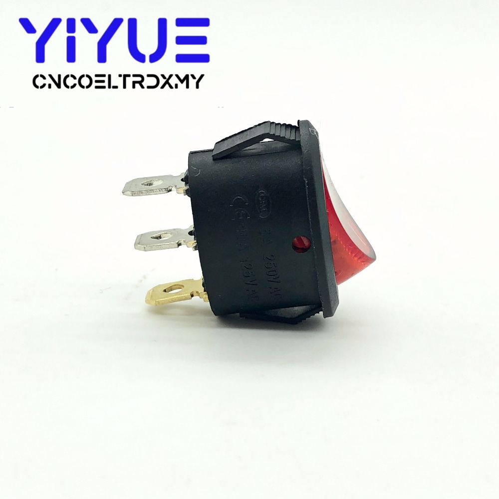 5Pcs Rocker Switch Ellipse Red With lamp KCD1 3Pin two position Seesaw Power switch  6A250VAC 10A125VAC (5)